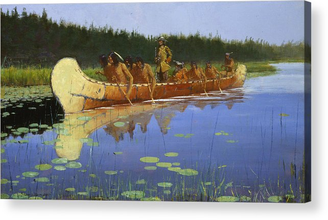 Frederic Remington Acrylic Print featuring the painting Radisson And Groseilliers by Frederic Remington
