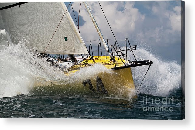 Sailboat Acrylic Print featuring the photograph Sailboat Le Pingouin Open 60 Charging by Dustin K Ryan