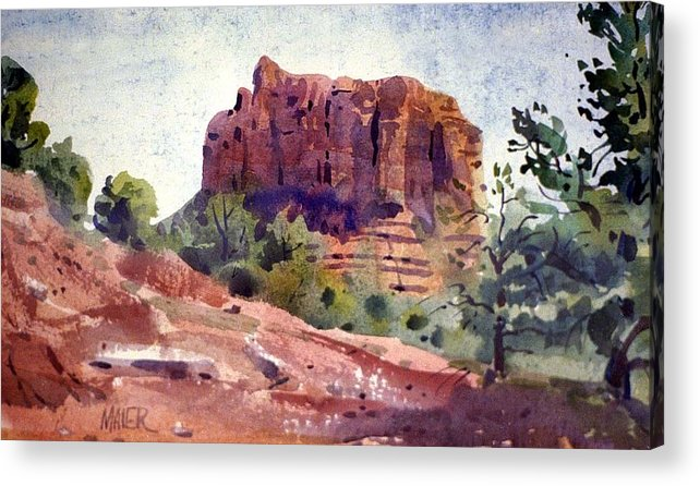 Butte Acrylic Print featuring the painting Sedona Butte by Donald Maier