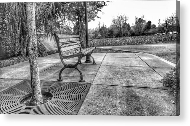 B&w Hdr Acrylic Print featuring the photograph Shoney's Bench by Noel Adams