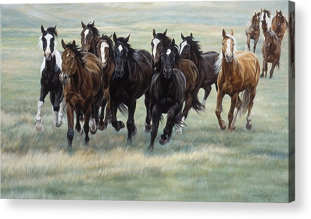 Michelle Grant Acrylic Print featuring the painting Stampede by JQ Licensing