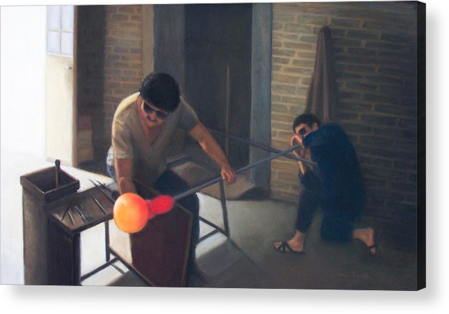 Glassblowers Acrylic Print featuring the painting The Glassblowers by Diane Caudle