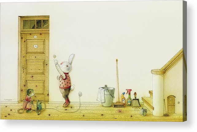 Snake Illustration Drawing Children Rabbit Colorful Acrylic Print featuring the painting The Neighbor around the Corner01 by Kestutis Kasparavicius