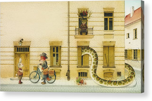 Snake Illustration Children Book Rabbit Fox Fairy Tale Acrylic Print featuring the painting The Neighbor around the Corner02 by Kestutis Kasparavicius