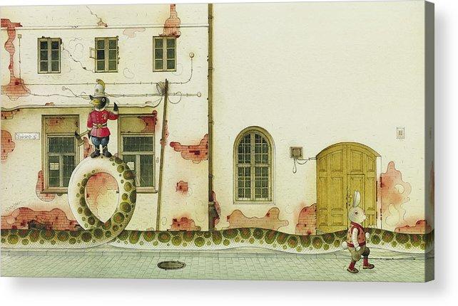 Snake Raven Rabbit Illustration Children Book Fairy Tale Street House Windows Acrylic Print featuring the painting The Neighbor around the corner03 by Kestutis Kasparavicius