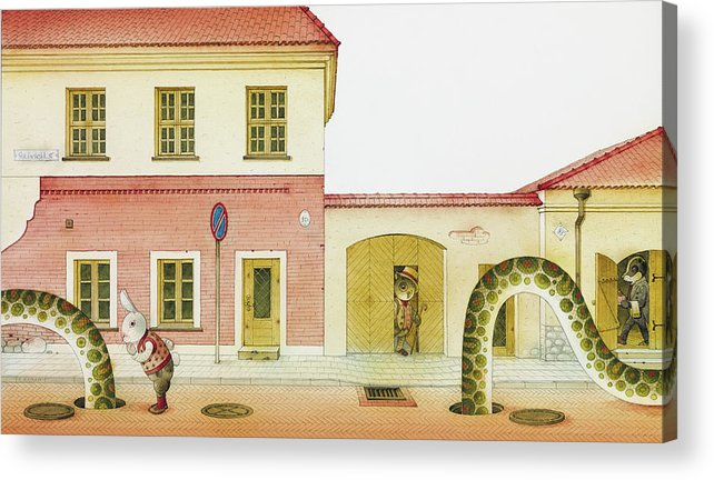 Snake Street Illustration Watercolor Children Book Old Town Rabbit Acrylic Print featuring the painting The Neighbor around the Corner04 by Kestutis Kasparavicius