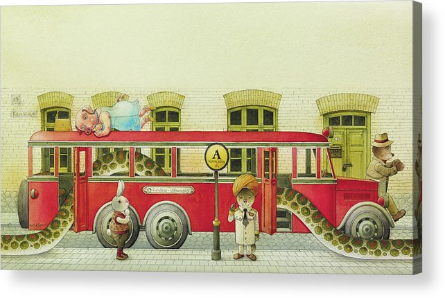 Snake Buss Rabbit Mongoose Old Town Street Cow Bear Red Illustration Children Drawing Watercolor Traffic Acrylic Print featuring the drawing The Nighbor around the Corner06 by Kestutis Kasparavicius