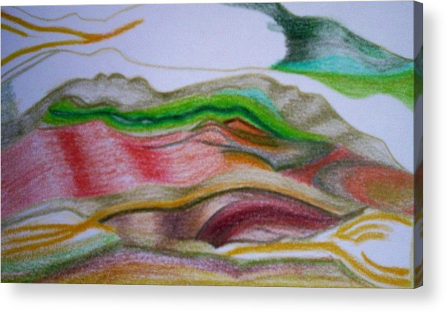 Abstract Acrylic Print featuring the painting Valley Stream by Suzanne Udell Levinger
