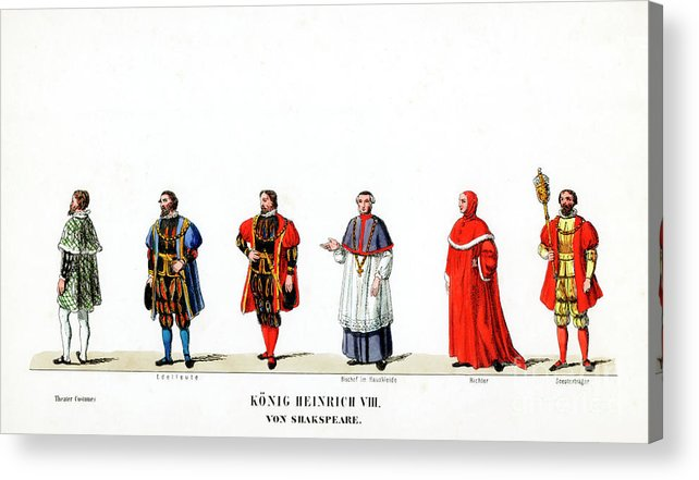 Engraving Acrylic Print featuring the drawing Theatre Costume Designs by Print Collector