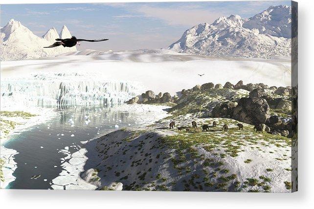 Prehistoric Era Acrylic Print featuring the digital art A Receding Glacial Scene Circa 18,000 by Arthur Dorety/stocktrek Images
