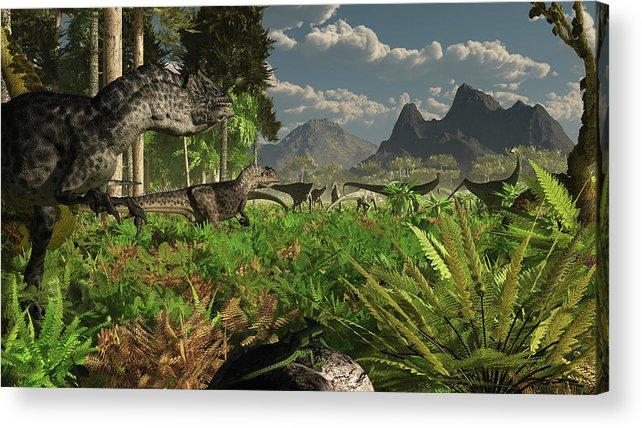 Toughness Acrylic Print featuring the digital art Allosaurus And Diplodocus Dinosaurs by Arthur Dorety/stocktrek Images