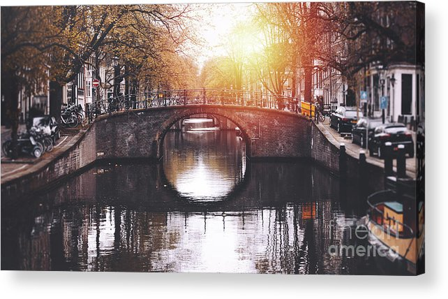 Jordaan Acrylic Print featuring the photograph Amsterdam Cityscape With Canal by Serts