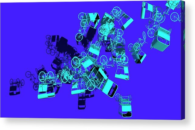 Rickshaw Acrylic Print featuring the digital art Blue Rickshaws Flying by Heike Remy