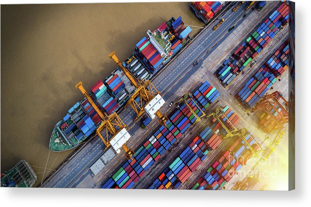 Working Acrylic Print featuring the photograph Container Ship In Import Export by Thatree Thitivongvaroon
