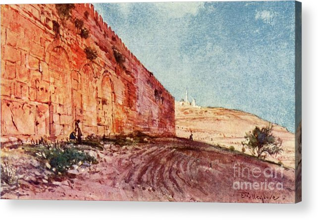 People Acrylic Print featuring the drawing Jerusalem - The Triple Gate by Print Collector