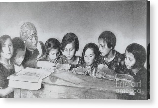 Education Acrylic Print featuring the photograph Jewish Teacher With Her Girl Students by Bettmann