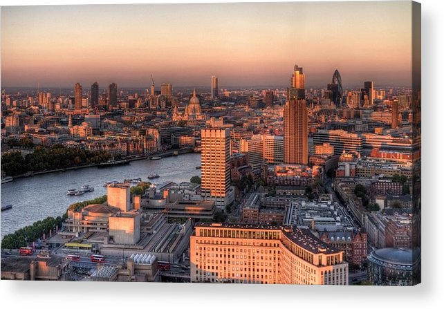 Cityscape Acrylic Print featuring the photograph London Cityscape At Sunset by Michael Lee