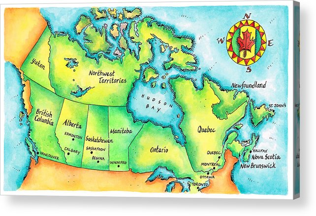 Watercolor Painting Acrylic Print featuring the digital art Map Of Canada by Jennifer Thermes