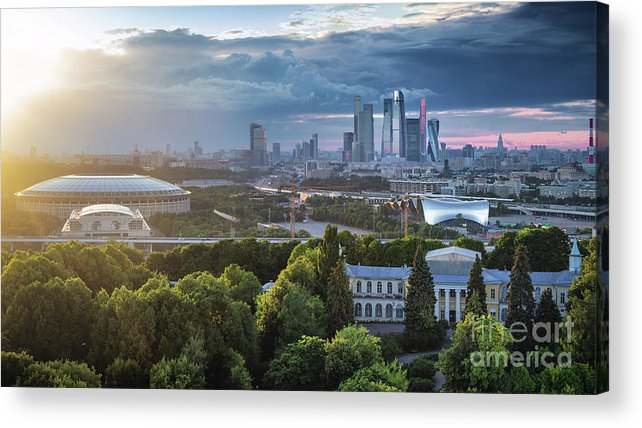 Scenics Acrylic Print featuring the photograph Moody Cityscape Of Moscow – Luzhniki by Sergey Alimov