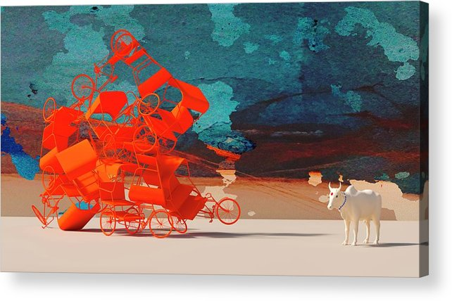 Rickshaw Acrylic Print featuring the digital art Rickshaw Pileup and Cow by Heike Remy