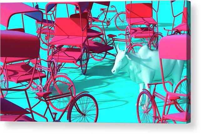 Rickshaw Acrylic Print featuring the digital art Rickshaws and Cow by Heike Remy