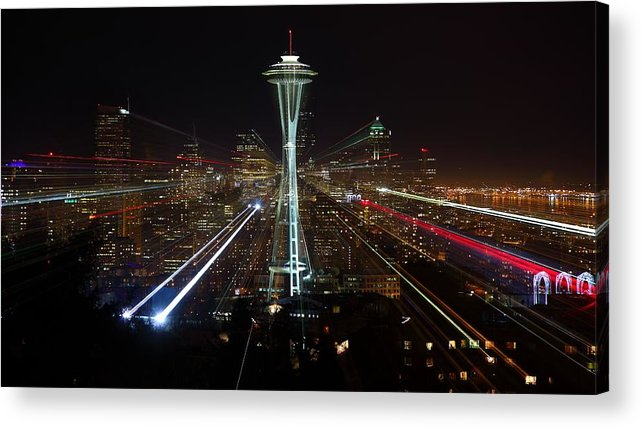Laser Acrylic Print featuring the photograph Seattle Skyline Laser Show by Jonkman Photography