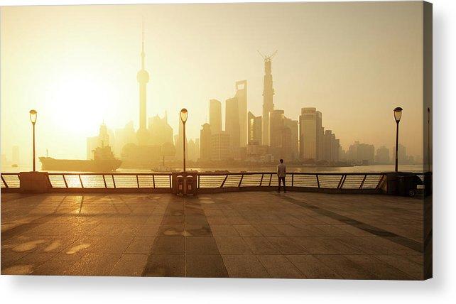 Tranquility Acrylic Print featuring the photograph Shanghai Sunrise At Bund With Skyline by Spreephoto.de