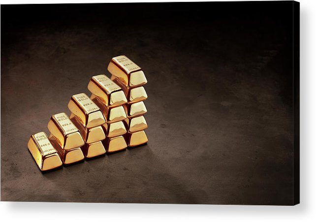 In A Row Acrylic Print featuring the photograph Stepped Stack Of Gold On Dark Surface by Anthony Bradshaw