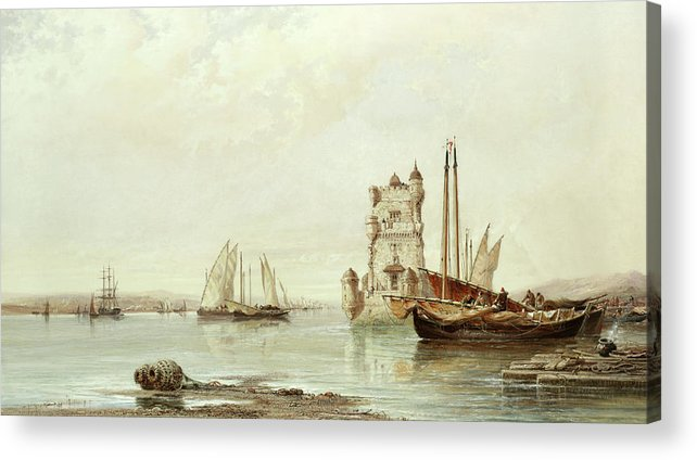 The Mouth Of The Tagus Acrylic Print featuring the painting The Mouth Of The Tagus, Lisbon by Arthur Joseph Meadows