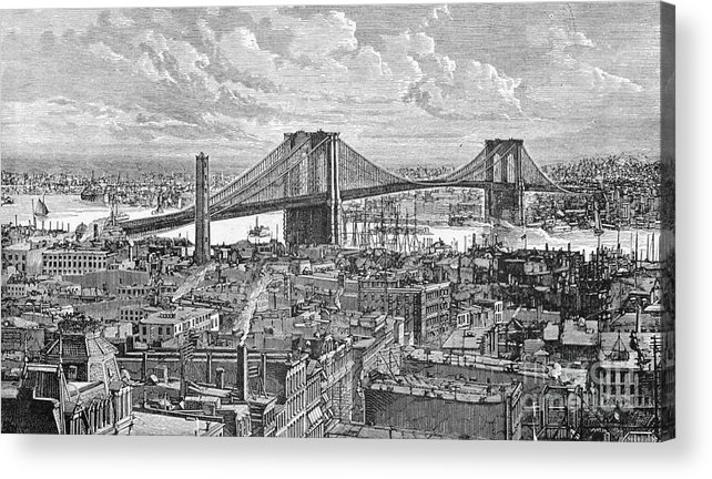 Suspension Bridge Acrylic Print featuring the photograph View Of The Brooklyn Bridge by Bettmann