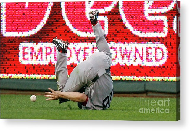 American League Baseball Acrylic Print featuring the photograph Alex Gordon and Josh Reddick by Ed Zurga