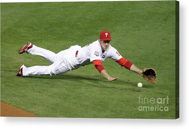 People Acrylic Print featuring the photograph Derek Jeter and Chase Utley by Brad Mangin