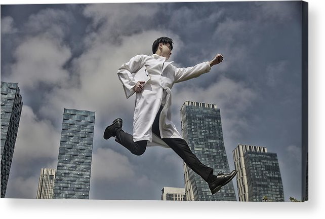 Expertise Acrylic Print featuring the photograph Doctor Running With Clipboard by Runstudio
