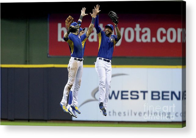 People Acrylic Print featuring the photograph Domingo Santana and Ryan Braun by Dylan Buell