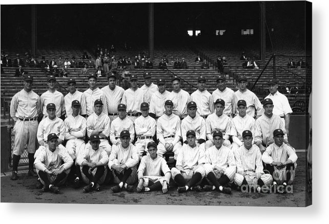 People Acrylic Print featuring the photograph Lou Gehrig and Babe Ruth by Transcendental Graphics