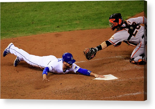 People Acrylic Print featuring the photograph Omar Infante and Buster Posey by Jamie Squire