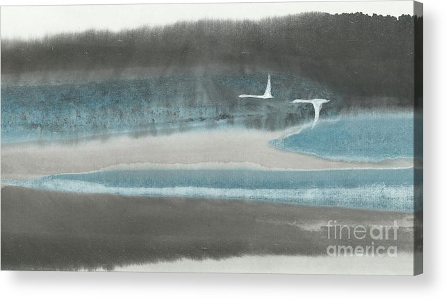 Two Birds Flying Over Forest And River. This Is A Contemporary Chinese Brush Painting On Rice Paper. Acrylic Print featuring the painting Passage by Mui-Joo Wee