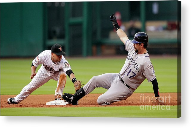 Stretching Acrylic Print featuring the photograph Todd Helton by Bob Levey