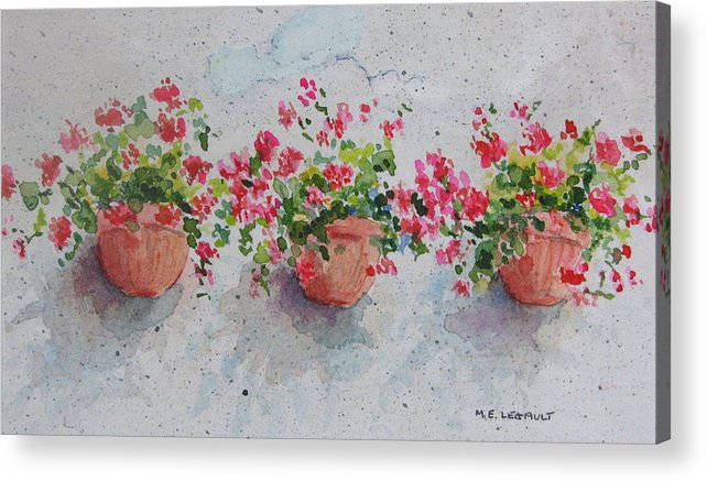 Florals Acrylic Print featuring the painting Tuscan Flowers by Mary Ellen Mueller Legault