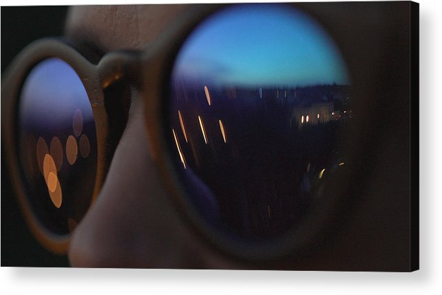 Orange Color Acrylic Print featuring the photograph Woman wearing fashionable eyewear. City lights reflecting in glasses by Slavemotion