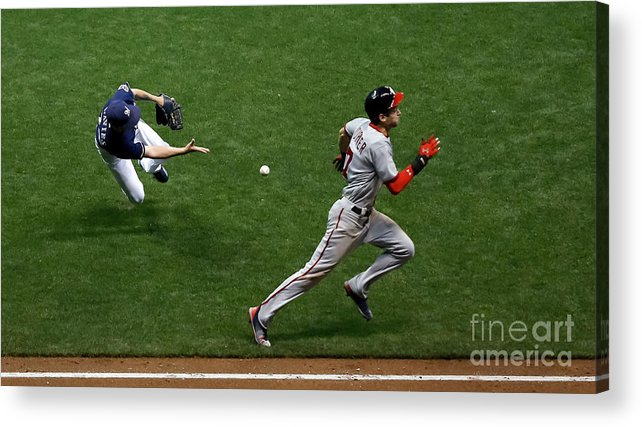People Acrylic Print featuring the photograph Zach Davies and Trea Turner by Jon Durr