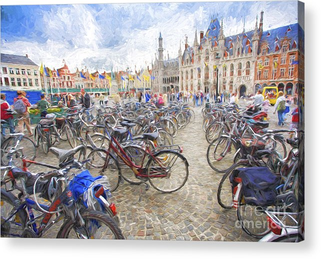Brugge Acrylic Print featuring the photograph Bicycles in Brugge by Sheila Smart Fine Art Photography
