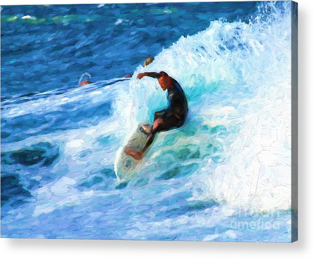 Surfer Acrylic Print featuring the photograph The surfer by Sheila Smart Fine Art Photography