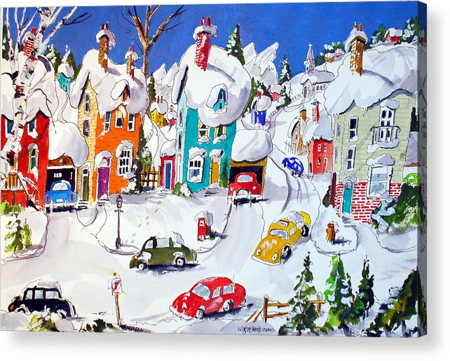 Snow Village Scene Town Houses Winter Quebec Acrylic Print featuring the painting La Ville Grand Mere by Wilfred McOstrich
