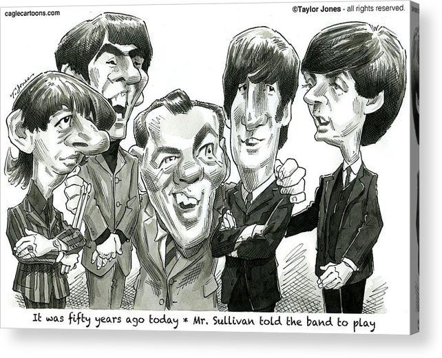 The Acrylic Print featuring the drawing Meet the Beatles by Taylor Jones