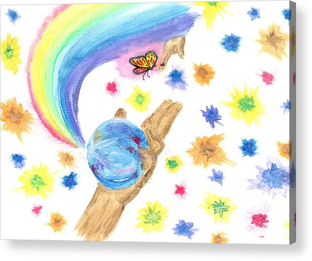 Acrylic Print featuring the drawing Colorful Journey by Harry Richards