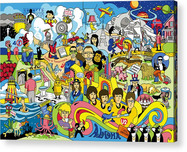 Beatles Acrylic Print featuring the digital art 70 illustrated Beatles' song titles by Ron Magnes