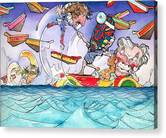 Children's Book Illustration Acrylic Print featuring the painting A Fatal Conceit Sample by Robert Myers