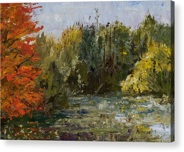 Morton Arboretum Scene Acrylic Print featuring the painting Autumn Pond by Nancy Albrecht