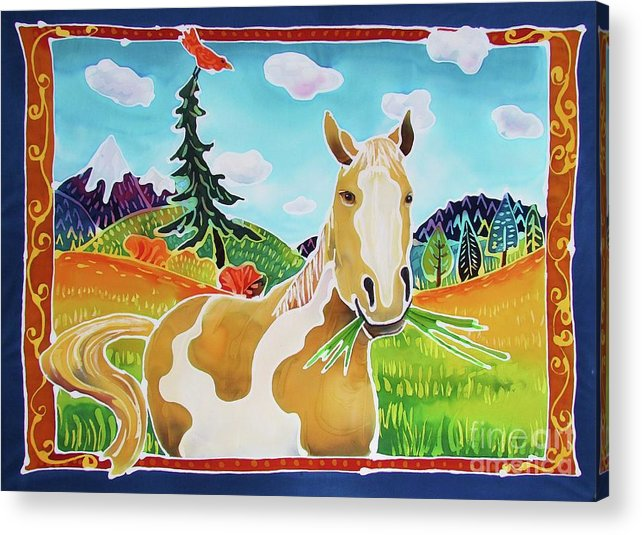 Horse Acrylic Print featuring the painting Chloe the Wild Mustang by Harriet Peck Taylor